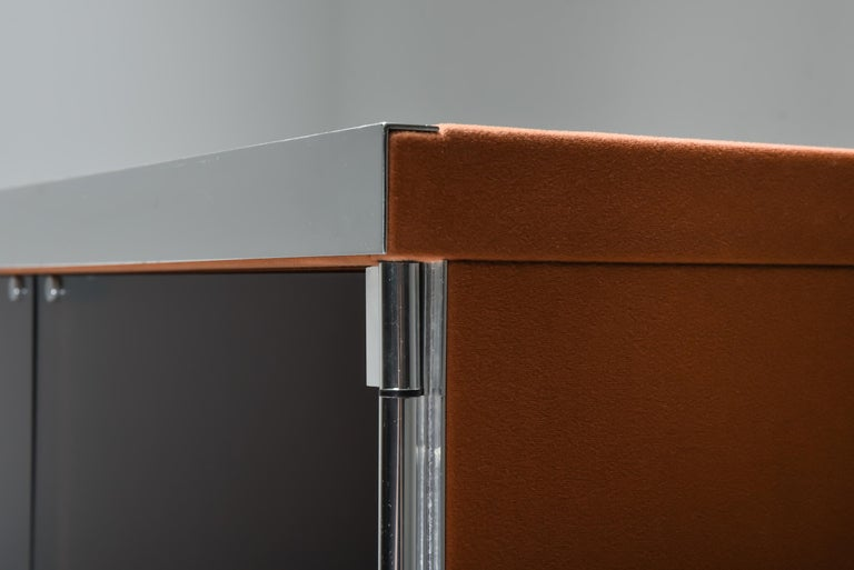 Italian Design Dresser in Cognac Leather, Chrome and Black Glass for Hermès For Sale 5