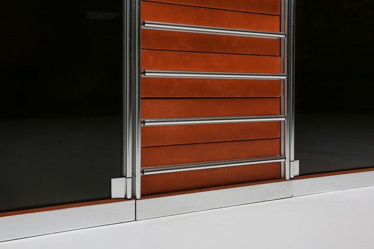 Italian Design Dresser in Cognac Leather, Chrome and Black Glass for Hermès For Sale 7