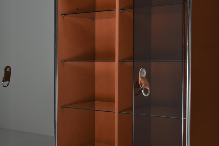Italian Design Dresser in Cognac Leather, Chrome and Black Glass for Hermès For Sale 8