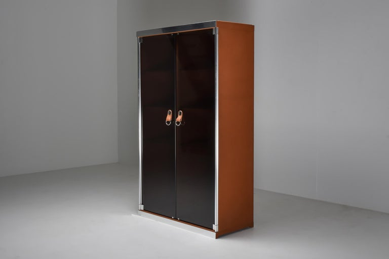 Italian Design Dresser in Cognac Leather, Chrome and Black Glass for Hermès For Sale 10