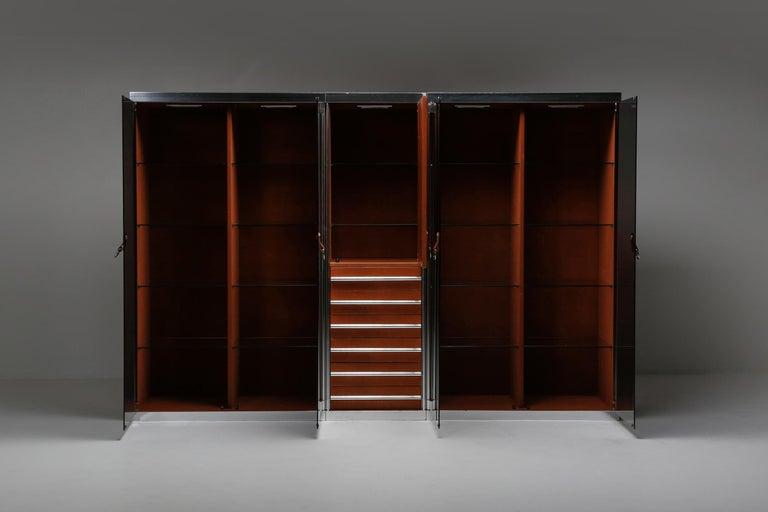 Post-Modern Italian Design Dresser in Cognac Leather, Chrome and Black Glass for Hermès For Sale
