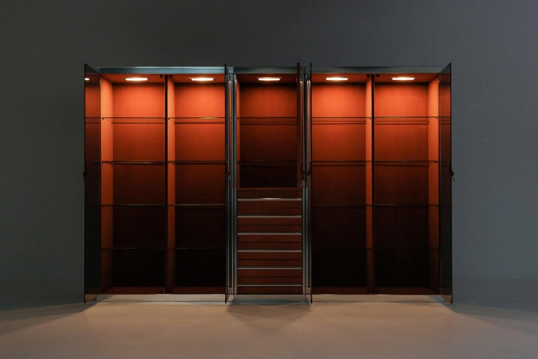 Italian Design Dresser in Cognac Leather, Chrome and Black Glass for Hermès In Excellent Condition For Sale In Antwerp, BE