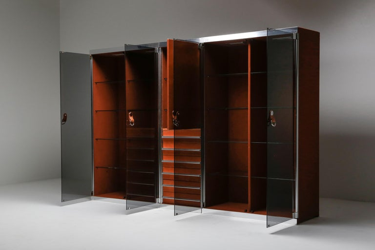Italian Design Dresser in Cognac Leather, Chrome and Black Glass for Hermès For Sale 1