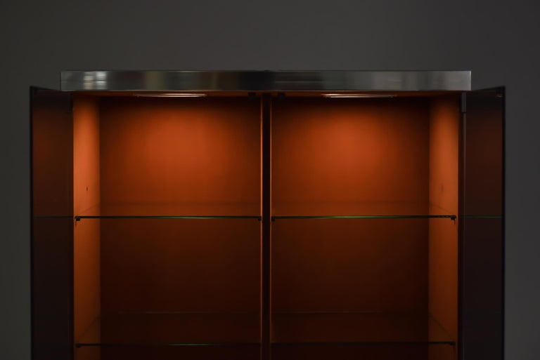 Italian Design Dresser in Cognac Leather, Chrome and Black Glass for Hermès For Sale 3