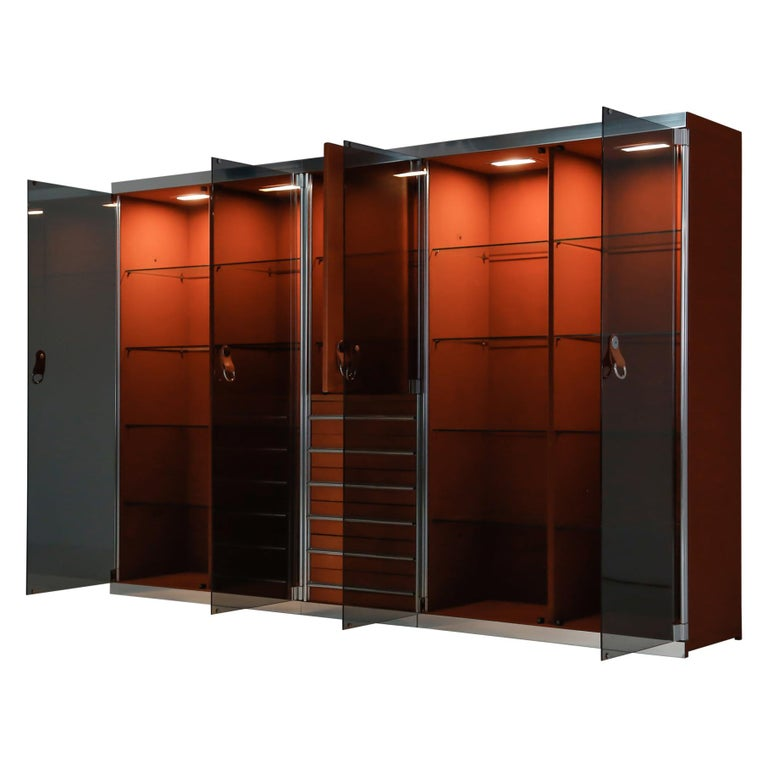 Italian Design Dresser in Cognac Leather, Chrome and Black Glass for Hermès For Sale