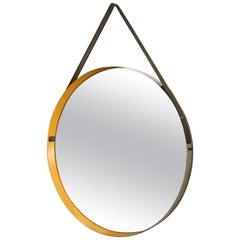 Italian Design Drum Mirror Brushed Steel Frame Yellow Enamel Rim Diego Mardegan