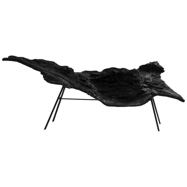 Italian Design Ebonized Wood Effect and Metal Armchair For Sale