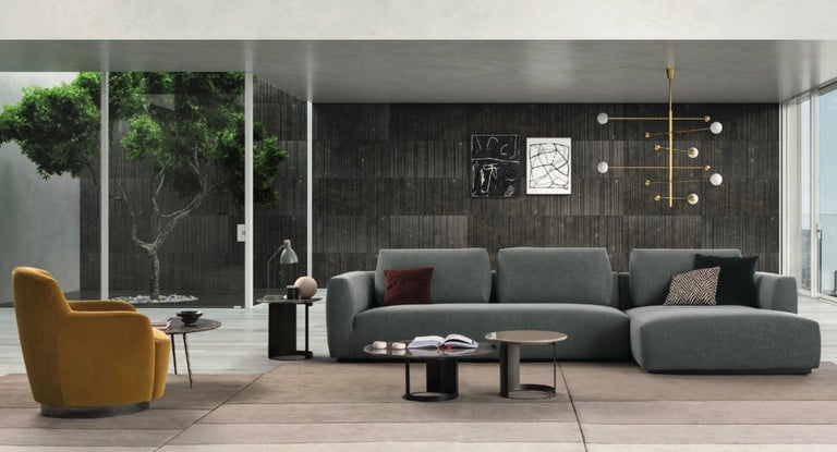 Italian Design Furniture Sectional Sofa, Made in Italy, Fabric, New