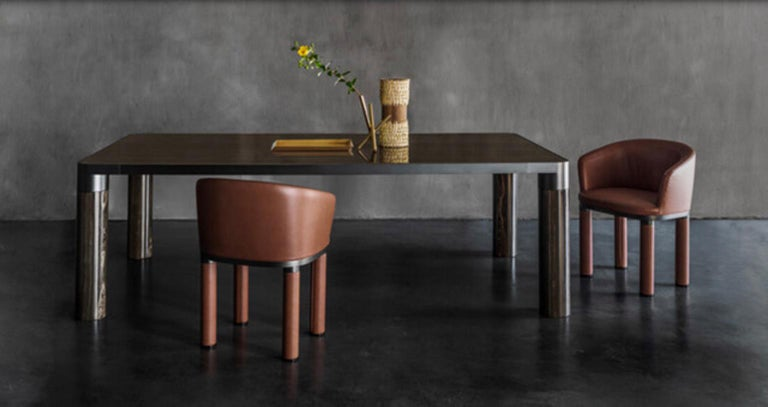 Italian Design Ghidini 1961 Marble and Bronze Finish Dining Table For Sale 5