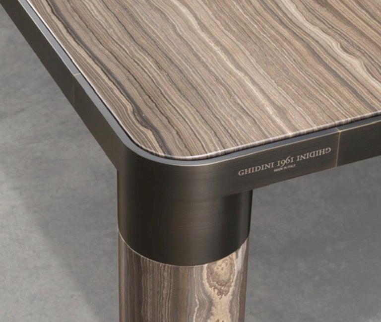 Modern Italian Design Ghidini 1961 Marble and Bronze Finish Dining Table For Sale