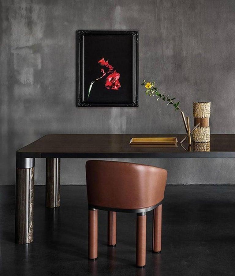 Aluminum Italian Design Ghidini 1961 Marble and Bronze Finish Dining Table For Sale