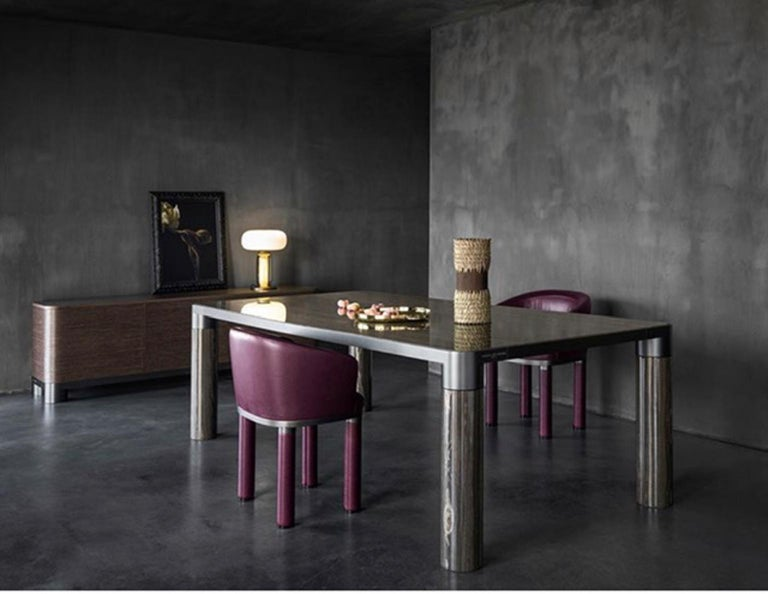 Italian Design Ghidini 1961 Marble and Bronze Finish Dining Table For Sale 1