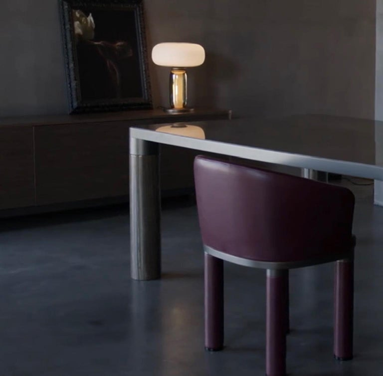 Italian Design Ghidini 1961 Marble and Bronze Finish Dining Table For Sale 2