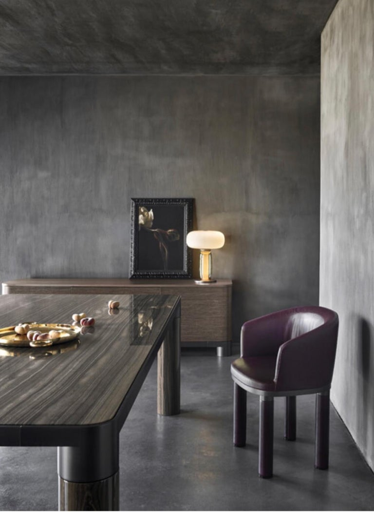 Italian Design Ghidini 1961 Marble and Bronze Finish Dining Table For Sale 3