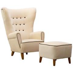 Italian Design Gio Ponti Style Mid-Century Wingback Armchair with Stool