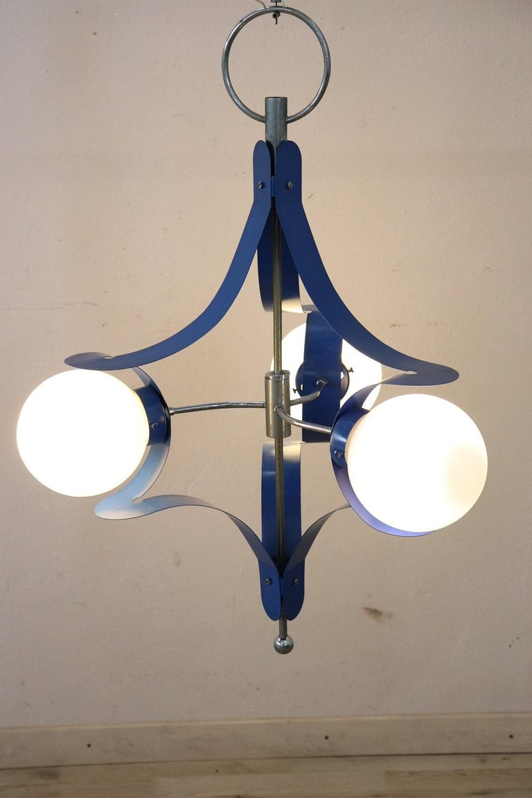 Beautiful Italian design stilnovo style chandelier with glass and blue lacquered metal, 1950s total three lights. Fully functional.