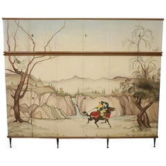 Italian Design Large Wardrobe Armoire with Hand Painted Japanese Decoration 1960