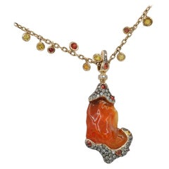 "Italian Design ""Lava"" Necklace with Fire Opal, Sapph and Dia in 18 Karat RG"