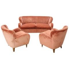 Italian Design Living Room Set or Salon Suite in Pink Velvet, 1970s