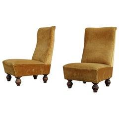 Italian Design Low Armchairs from 1950 Orange Wooden Feet Velvet for Bedroom