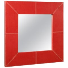 Italian Design Mirror in Red Faux Leather, 20th Century