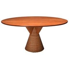 Italian Design Oval Mid-Century Modern Dining Table on a Rattan Base