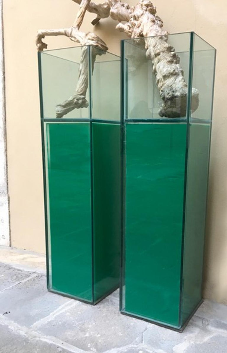 Italian Design Pair of Green Lightened Clear Crystal Pedestal with Vases Inside For Sale 14