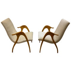 Italian Design Pair of Maple Wood Chairs by Malatesta and Masson, Italy, 1950s