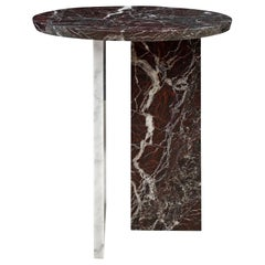 Italian Design Round Carrara and Red Marble Side Table