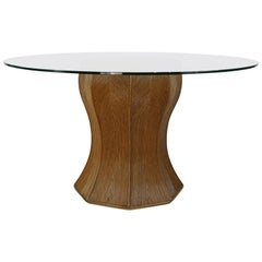 Italian Design Round Rattan Marquetry and Glass Pedestal Table