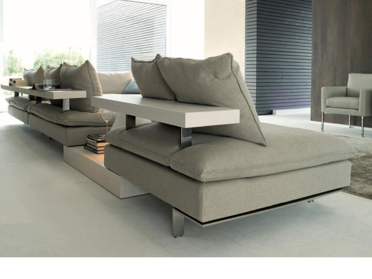 Italian Design Sectional Sofa with Fabric and Leather Shelving, New