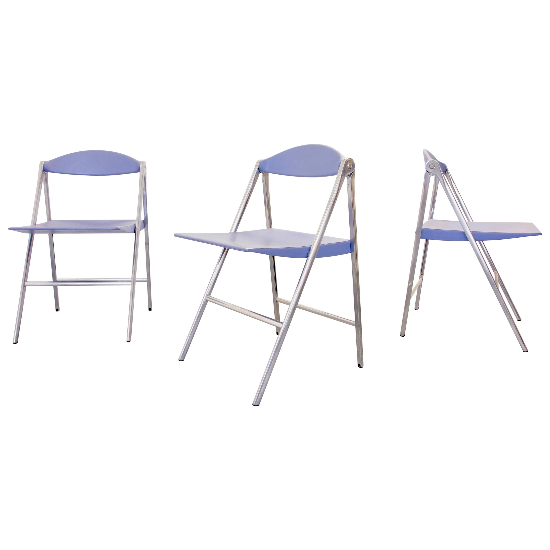 "Italian Design Set of 3 Folding Chairs ""Donald"" by Poltrona Frau, Italy"