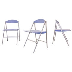 "Italian Design Set of 3 Folding Chairs ""Donald"" by Poltrona Frau, Italy"