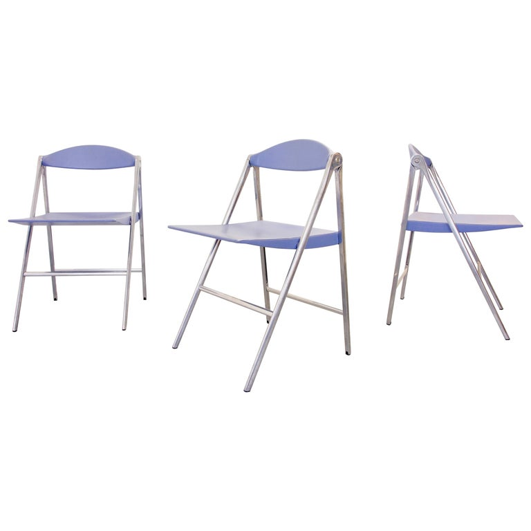 """Italian Design Set of 3 Folding Chairs """"Donald"""" by Poltrona Frau, Italy For Sale"""