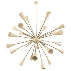 Italian Design Sputnik 32 Arms 24-Light Brass Chandelier
