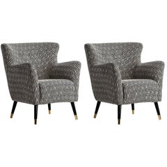 Italian Design Style Black and White Fabric Pair of Armchairs
