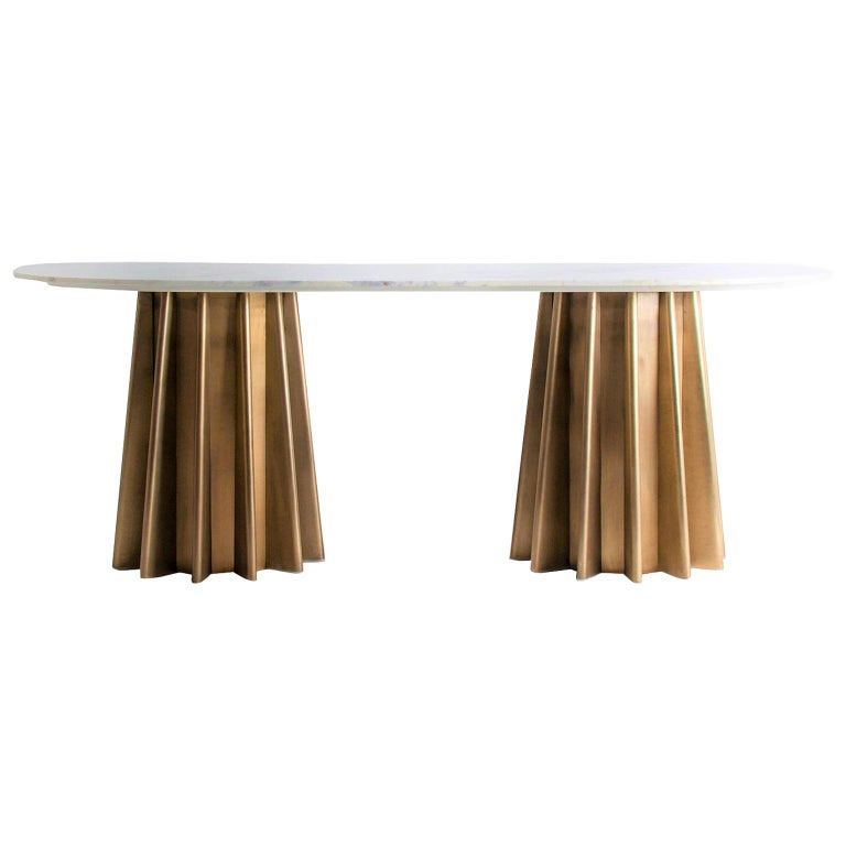 Italian Design Style Marble And Metal Pedestal Oval Table For Sale