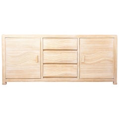 Italian Design Style Pencil Reed Or Rattan Marquetry Cerused effect Sideboard