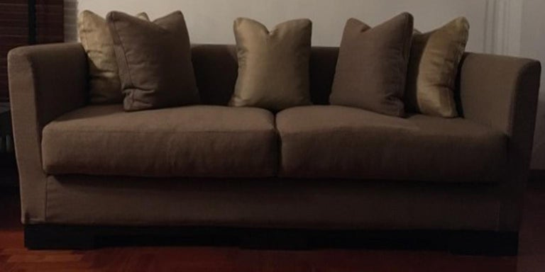 Modern Italian Design Three Seats Upholstered Sofa Contemporary Production For Sale
