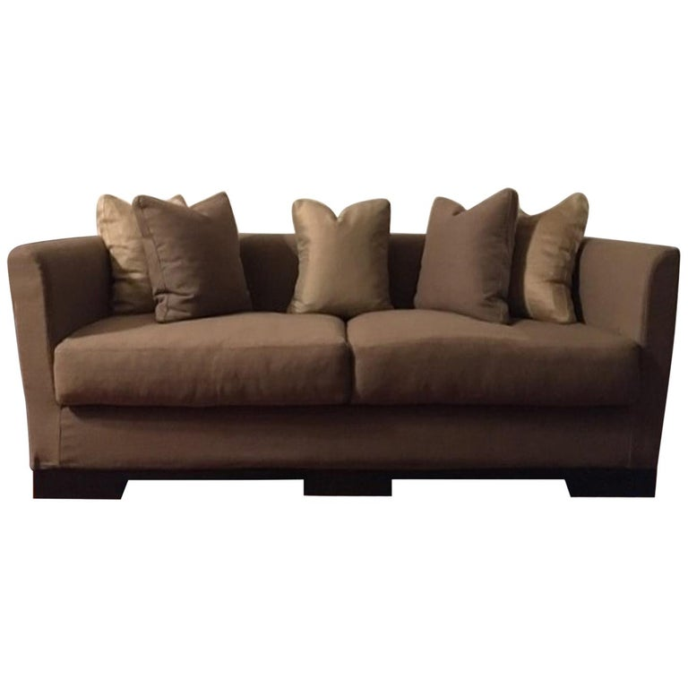 Italian Design Three Seats Upholstered Sofa Contemporary Production For Sale