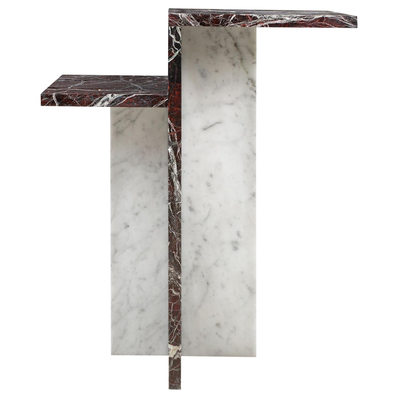 Italian Design Two-Tier Carrara and Red Marble Pair of Side Tables