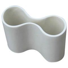 Italian Design White Convex Vase 1960 Angelo Mangiarotti Style