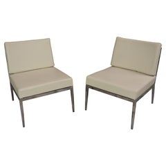 Italian Design White Leather and Chrome Metal Lounger Chairs