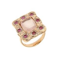 Italian Designer 18k Quartz Rhodolite Diamonds Rose Gold Ring for Her