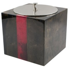 Italian Designer Aldo Tura Red Brown Goatskin Ice Bucket Barware Accessory