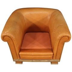 Italian Designer Armchair in Leather