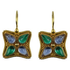 Italian Designer Blue and Green Crystals Vermeil Drop Earrings