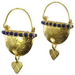 Italian Designer Blue Crystal Pearl Basket Vermeil Drop Earrings