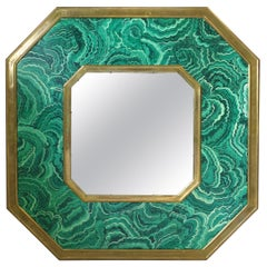 Italian Designer Brass Mirror with Green Malachite Resin Design
