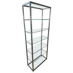 Italian Designer Chrome and Glass Display or Book Shelves